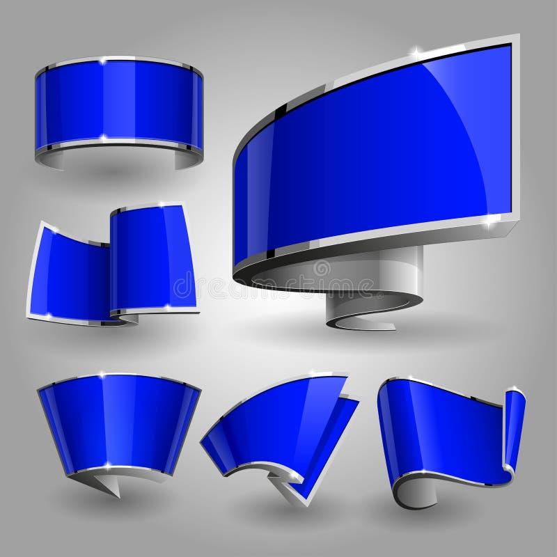 发光的光泽蓝色横幅集合 也corel凹道例证向量 库存例证