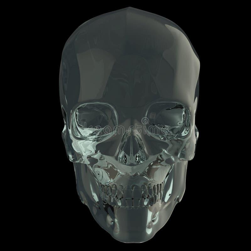 发光的光滑的墨镜skul在黑背景侧视图回报被隔绝 免版税库存图片