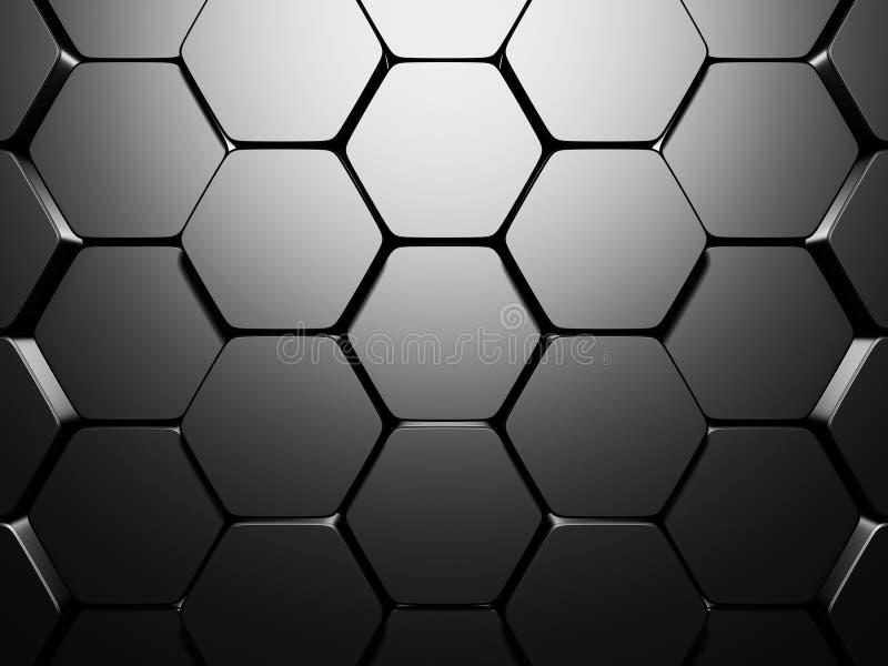 发光的六角形样式黑暗的金属银色背景 向量例证