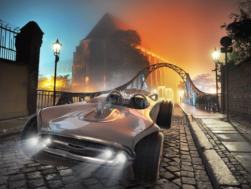 发光的减速火箭的汽车在老镇 图库摄影