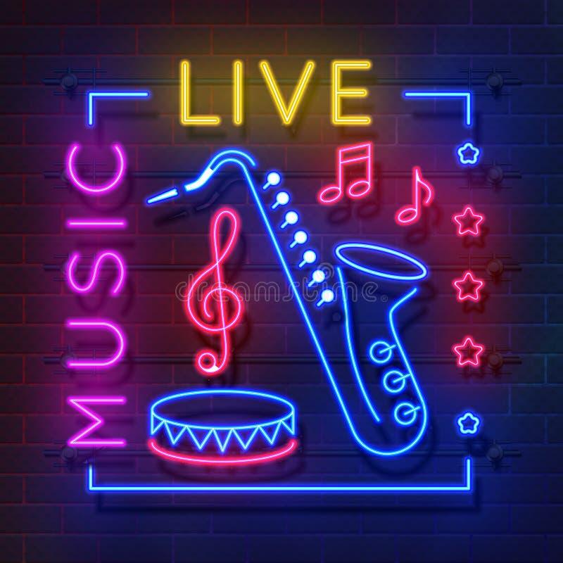 音乐霓虹灯广告 发光的卡拉OK演唱横幅,实况音乐光象征,迪斯科俱乐部减速火箭的海报 传染媒介音乐和合理霓虹 皇族释放例证