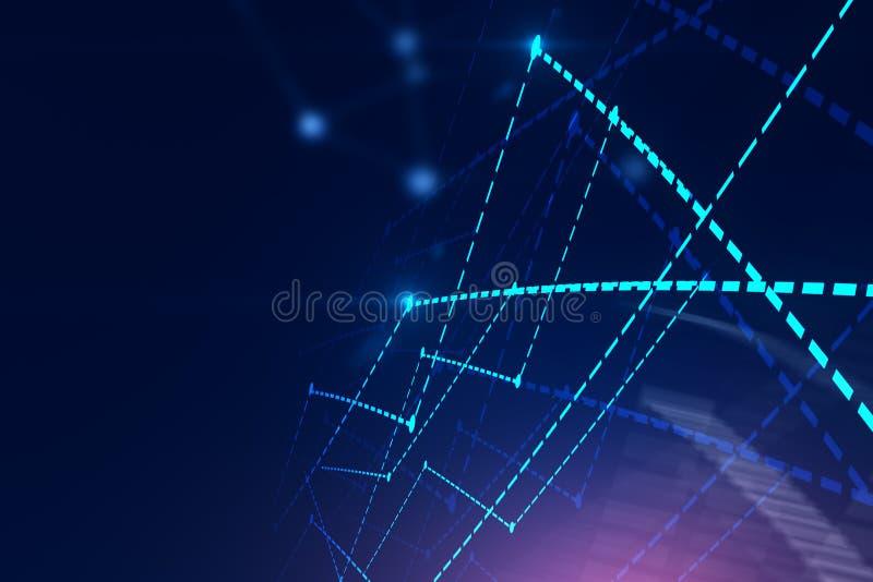发光的图表连接在蓝色,拷贝空间 皇族释放例证