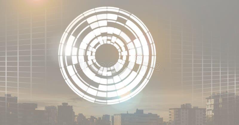 发光的圈子技术接口 库存图片