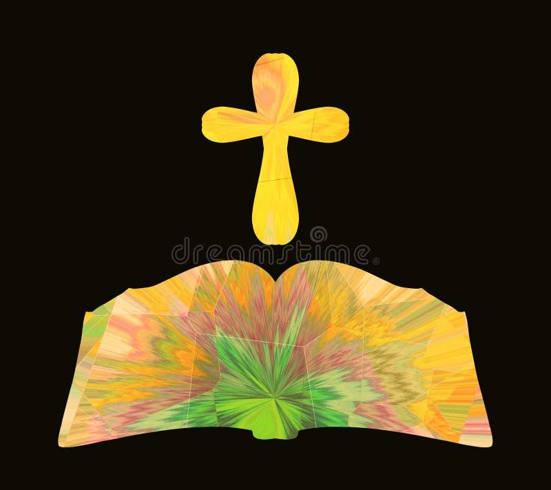 发光的圣经和十字架与创造性的样式在黑backgroun 皇族释放例证