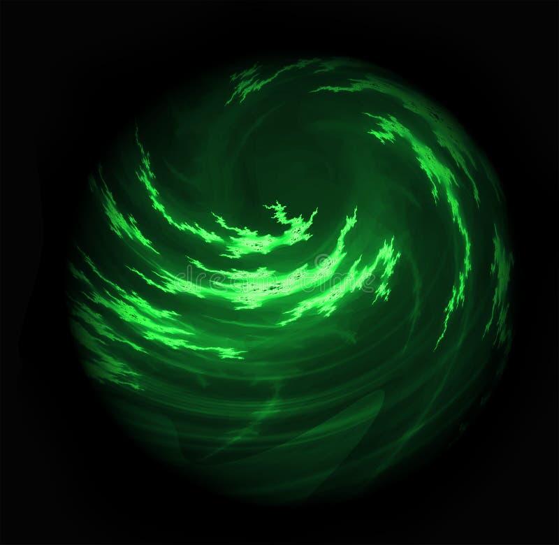 发光的多云打旋的绿色行星天体 库存图片