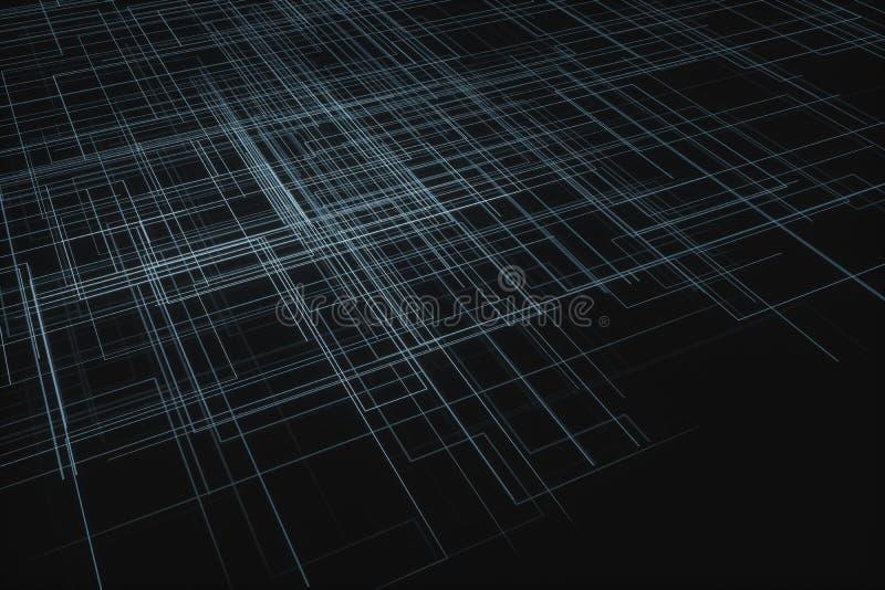 发光的大数据行和技术背景,3d翻译 皇族释放例证