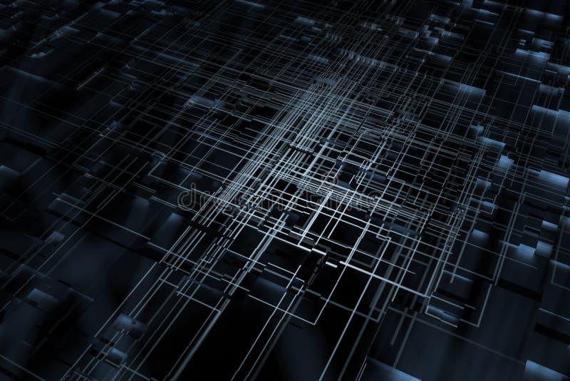 发光的大数据行和技术背景,3d翻译 库存例证