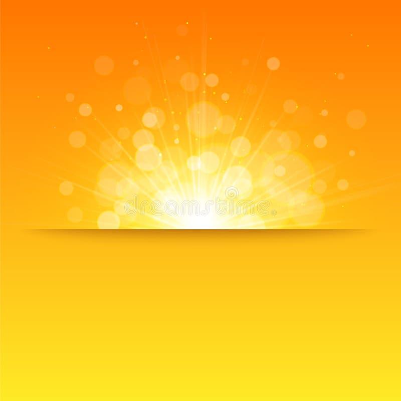 发光的太阳传染媒介,光束,阳光, bokeh 库存例证