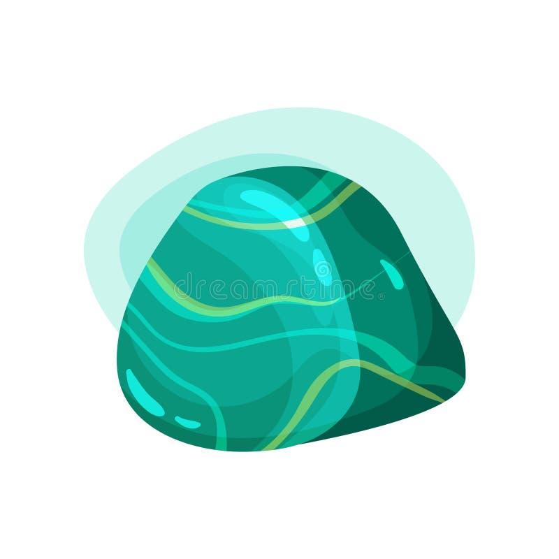 发光的宝石平的传染媒介象  与条纹图形的光滑的绿沸铜 光滑的绿松石宝石 重要 皇族释放例证