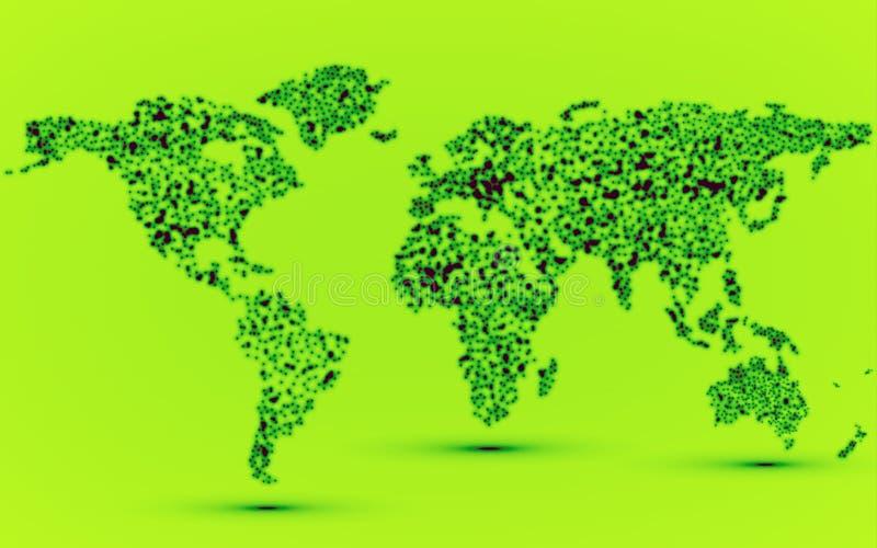 发光的微粒抽象世界地图  皇族释放例证