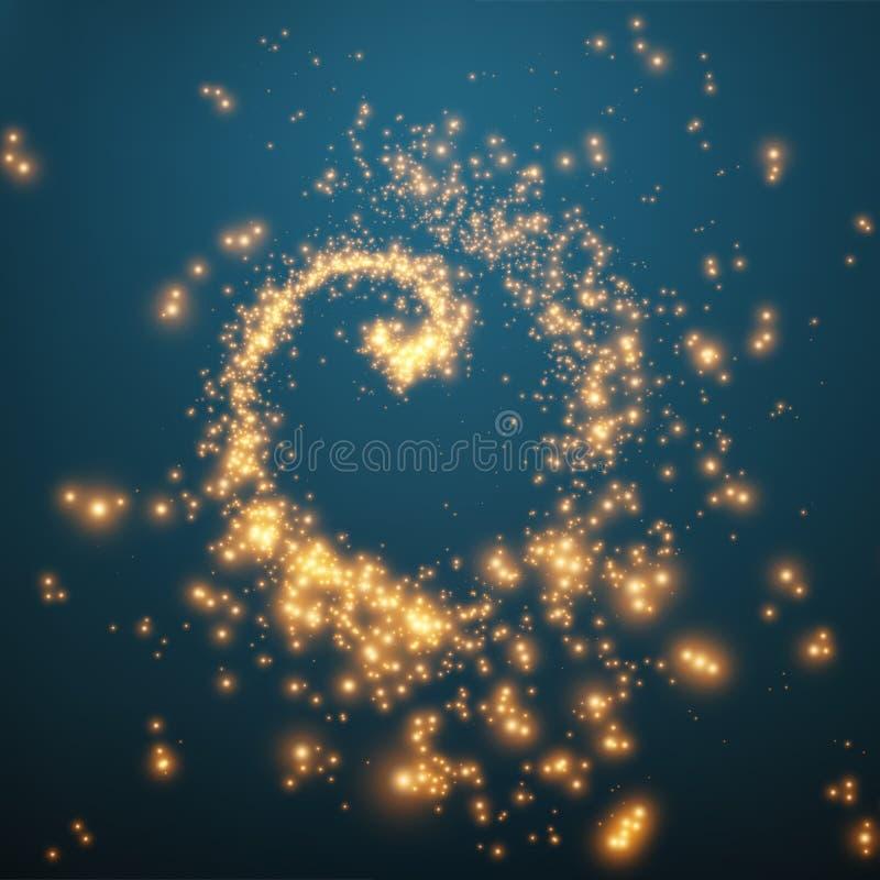 发光的微粒抽象传染媒介漩涡  未来派技术样式 向量例证