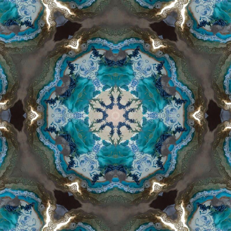 发光的抽象蓝色小野鸭星作用大理石 皇族释放例证