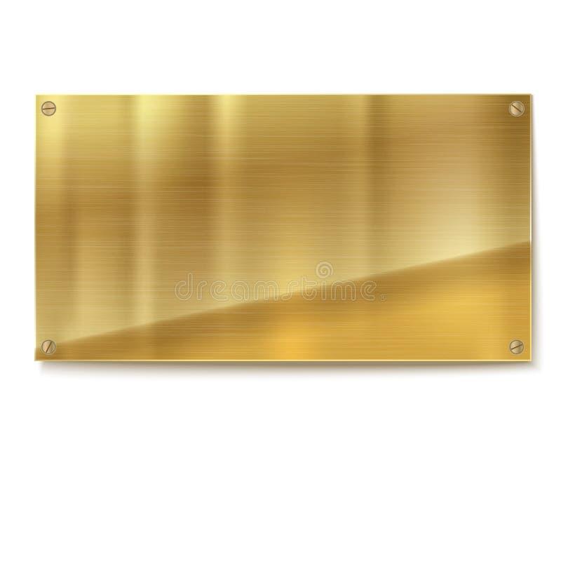 发光的掠过的金属金子,在白色背景的黄色板材横幅 库存例证