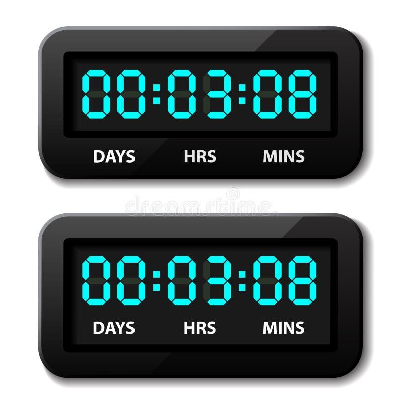 发光的数字式反的读秒定时器 皇族释放例证