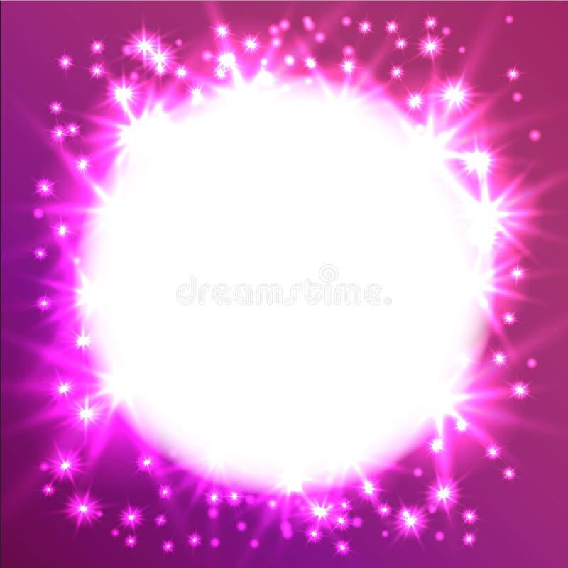 发光的星圆的框架 它可以使用作为作用在照片 在一个圈子的满天星斗的天空在桃红色背景 向量例证