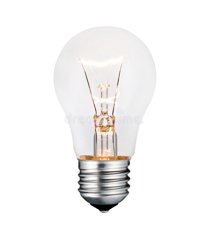 发光的查出的电灯泡照片白色 免版税库存图片