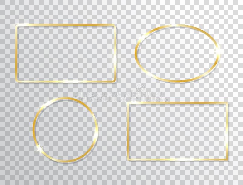 发光的框架在透明背景设置了被隔绝 与光线影响的金黄横幅 豪华长方形边界 库存例证