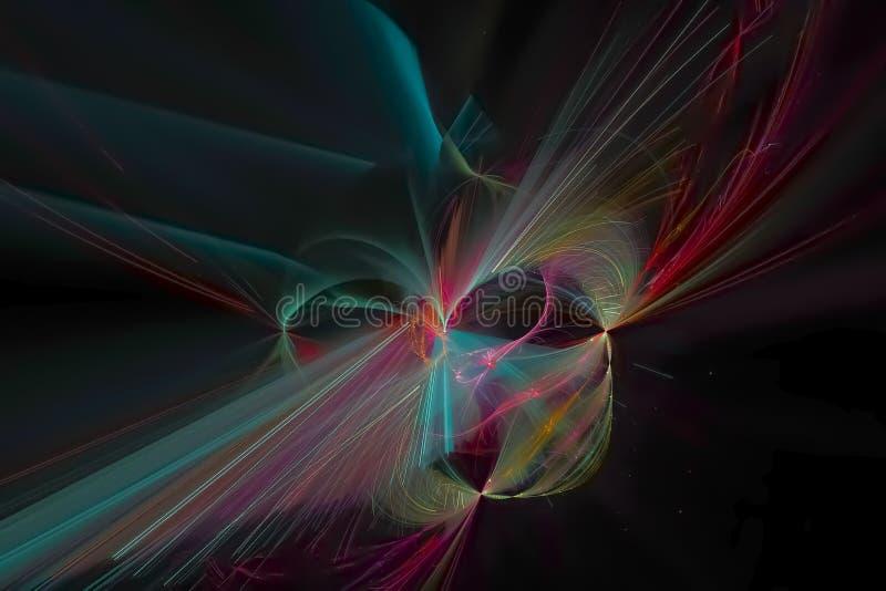 发光的波斯菊科学波浪样式背景飞溅力量幻想爆炸设计飞溅,闪闪发光 库存例证