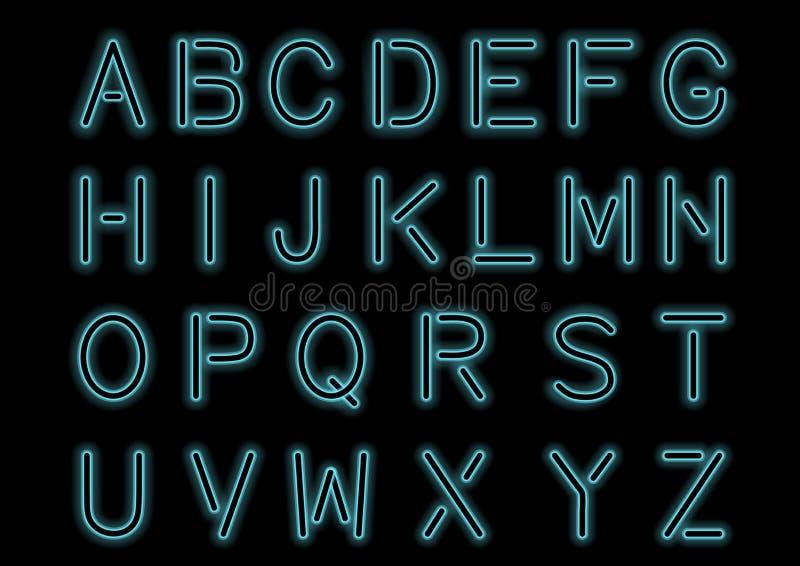 发光的深蓝蓝色霓虹字母表和透明 设计的定制字体 发光的信件和标志 向量例证