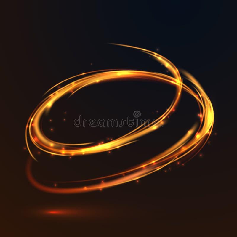 发光的火金子盘旋对黑背景的光线影响 皇族释放例证