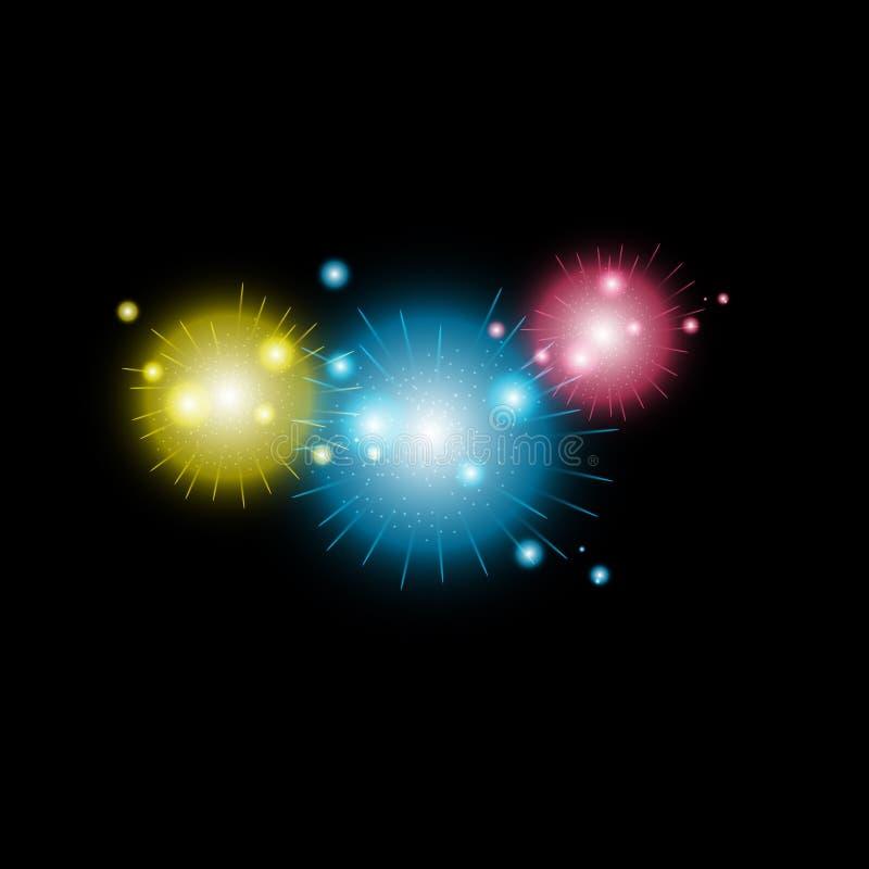 发光的烟花 多彩多姿的明亮的烟花传染媒介收藏 皇族释放例证