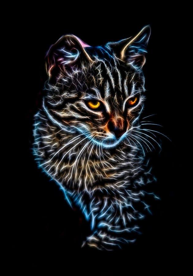 发光的猫画象 免版税库存图片