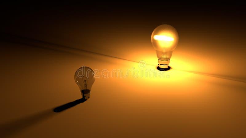 发光的电灯泡在黑暗的电灯泡附近的黑暗的地面上被安置 3D回报能量和光 向量例证