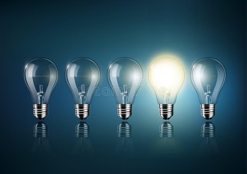 发光的电灯泡是在深蓝背景,概念想法,透明传染媒介的很多被关闭的电灯泡中 向量例证