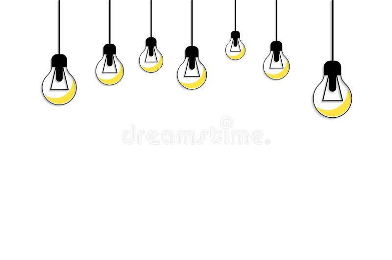 发光的电灯泡淡黄色 3d概念想法图象回报了 库存例证