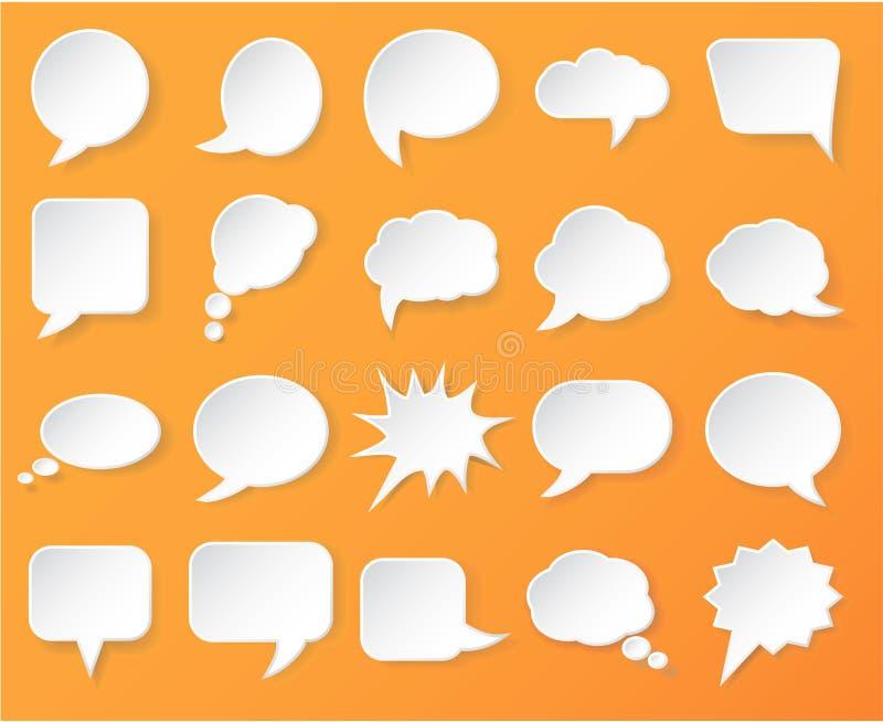 发光的白皮书为在橙色背景的讲话起泡 库存例证