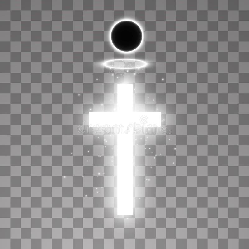 发光的白色十字架和白色光晕天使圆环和全日蚀在透明背景 发光的圣徒十字架 库存例证