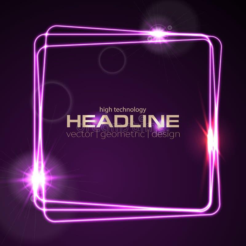 发光的紫罗兰色霓虹传染媒介正方形发光的设计 向量例证