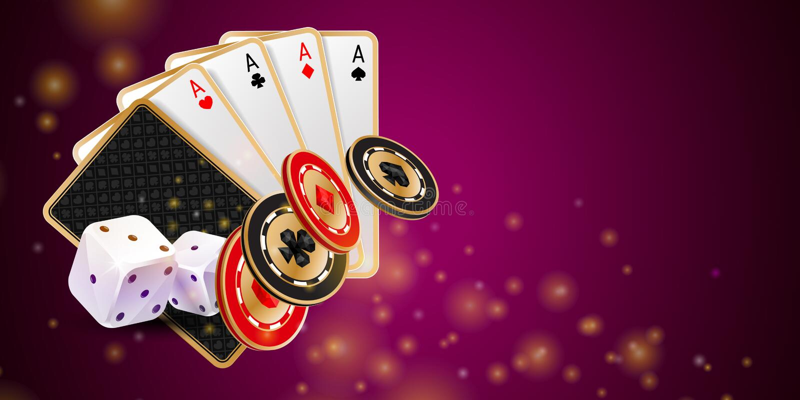 发光的紫色赌博娱乐场横幅 向量例证