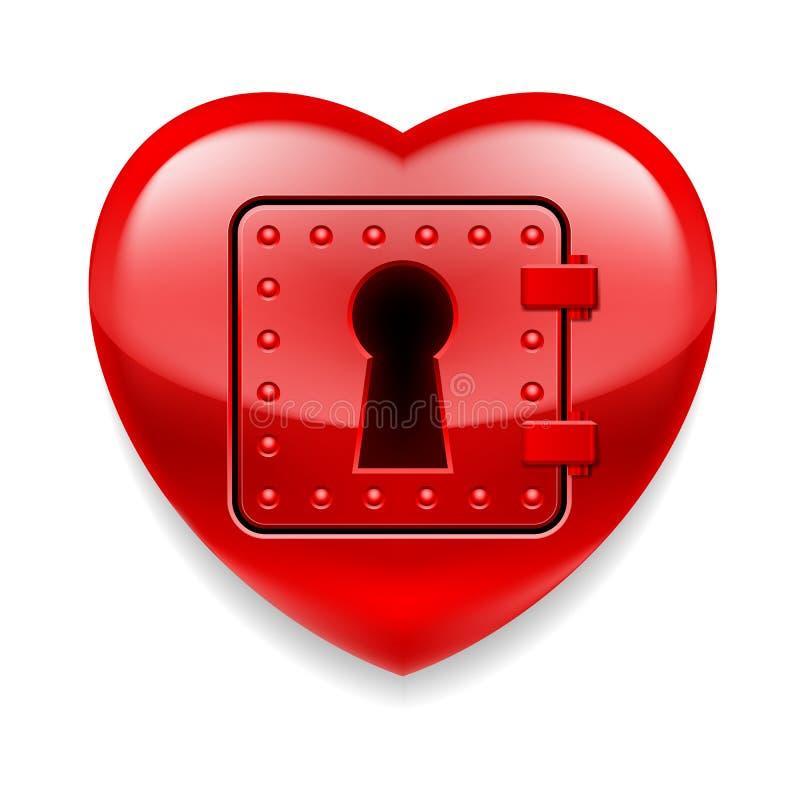 发光的红色心脏作为保险柜 皇族释放例证