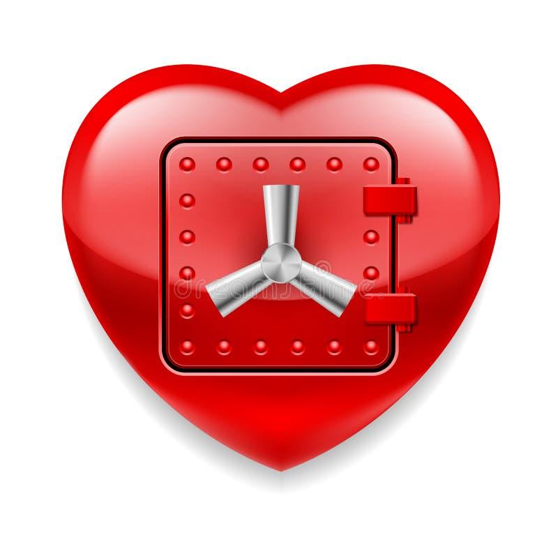 发光的红色心脏作为保险柜 向量例证
