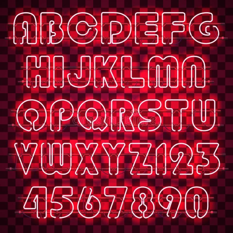 发光的红色霓虹字母表和数字 皇族释放例证