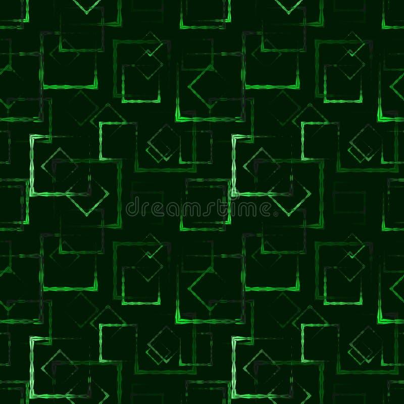 发光的绿色被雕刻的正方形和框架的一个抽象背景或样式 库存例证
