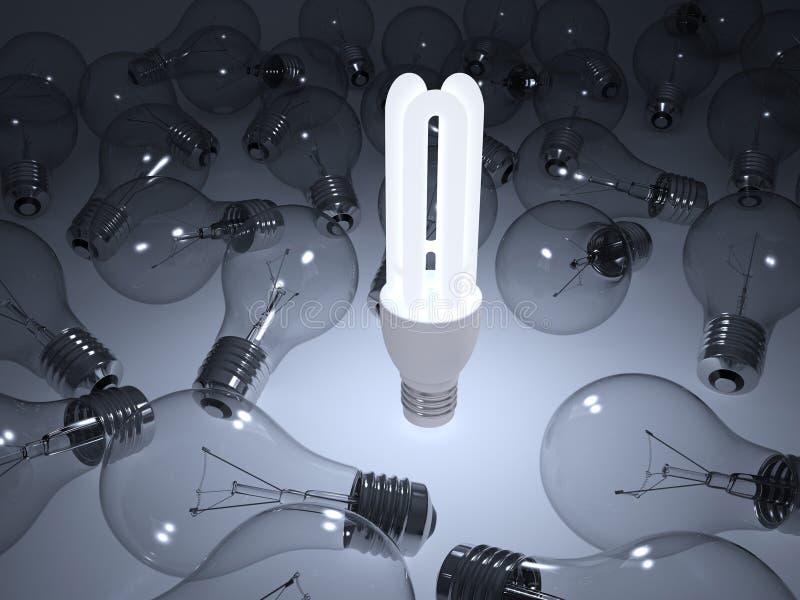 发光的节能电灯泡 皇族释放例证