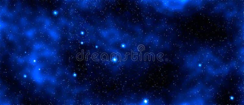 发光的蓝星和星系,空间背景 皇族释放例证