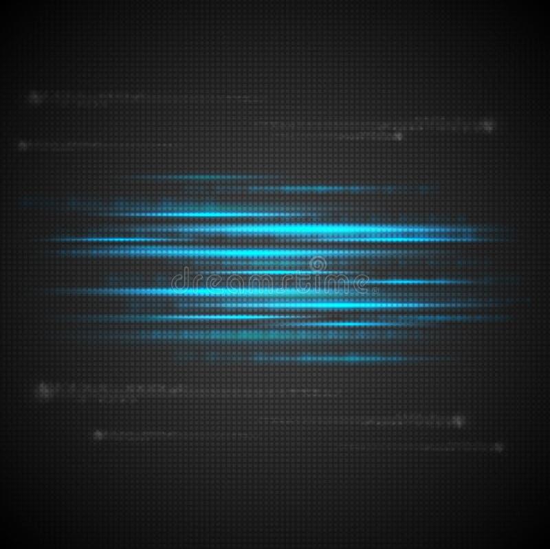 发光的蓝色抽象数据条 库存例证
