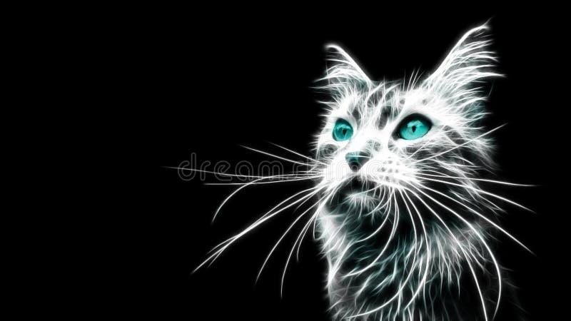 发光的蓝色老虎 向量例证