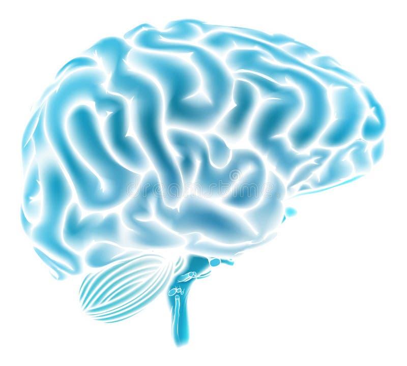 发光的蓝色脑子概念 皇族释放例证