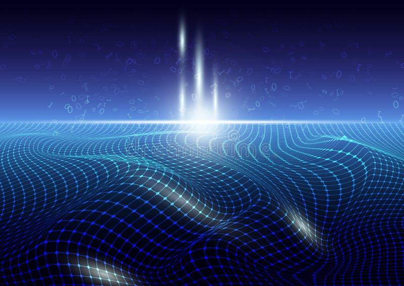 发光的蓝色连接栅格架线与上升的二进制编码,计算机科技大数据概念的框架 皇族释放例证