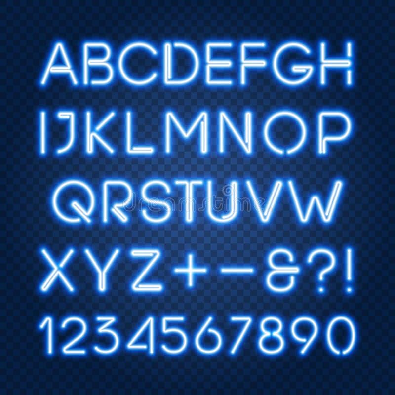发光的蓝色霓虹灯字母表和数字 向量例证