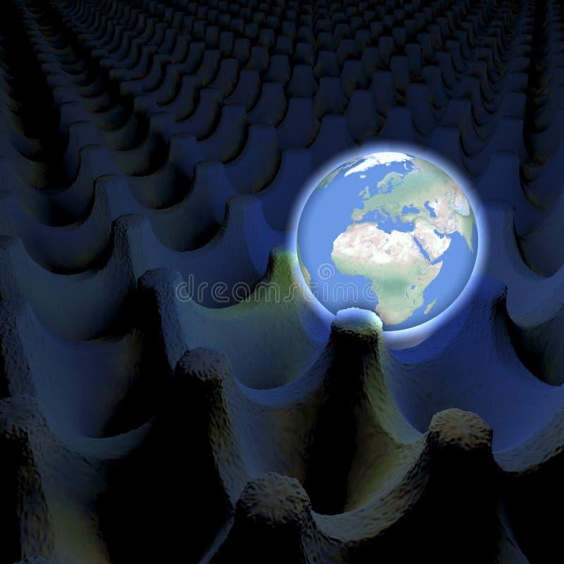 发光的行星地球的异常的描述在蛋纸盒箱子、欧洲和非洲视线内 库存例证