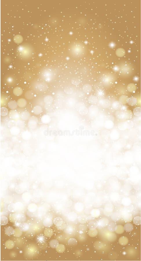 发光的被弄脏的金子假日邀请卡片背景 皇族释放例证