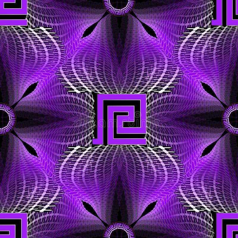 发光的被阐明的半音希腊传染媒介无缝的样式 现代充满活力的霓虹背景 五颜六色的重复几何背景 库存例证