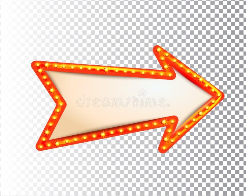 发光的被隔绝的减速火箭的电灯泡光框架箭头 向量例证