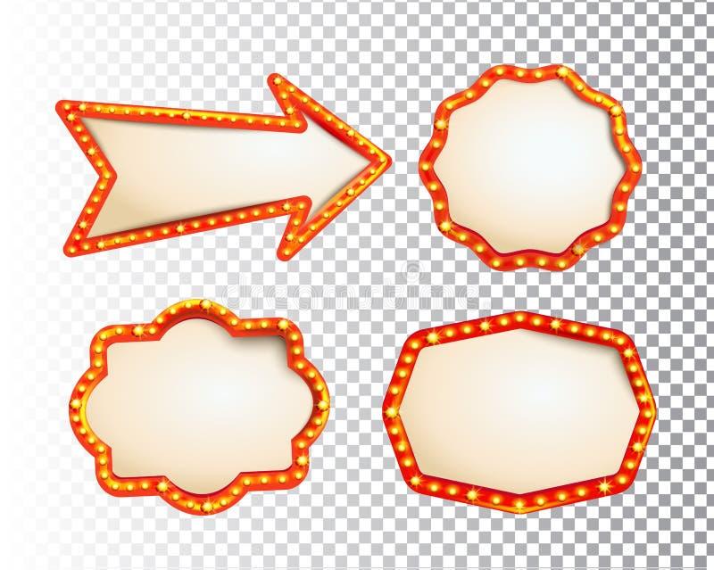 发光的被隔绝的retroset电灯泡光框架和箭头在透明背景 葡萄酒样式横幅,标志,牌 理想 向量例证