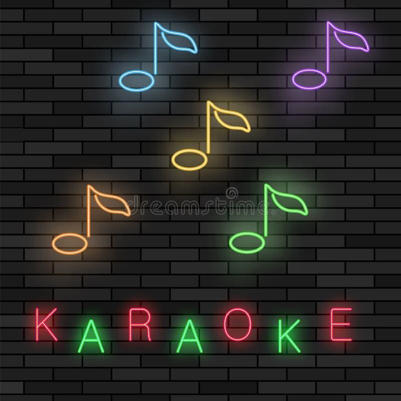 发光的轻的卡拉OK演唱 与笔记的音乐商标 五颜六色的线象 音乐酒吧标志板  皇族释放例证